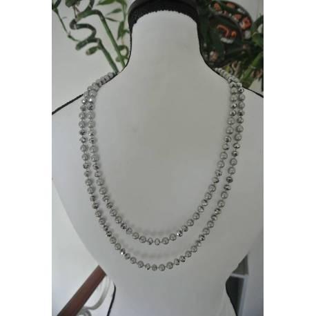 Sautoir de Perles Argentées