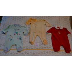 Lot de 3 Pyjamas en velours